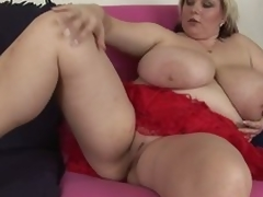 Obese mature blonde Juliana shows it all