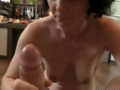 This mature housewife isnt ready to retire from sex yet, so she takes Roccos biggest cock in her mouth and shows her skills!