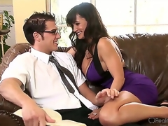 Very sexually excited Chris Johnnson encounters hot plump breasted milf Lisa Ann and they start making out in a very passionate and quite arousing way.