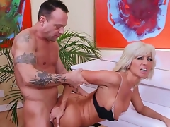 Mature smoking hot blonde cougar Tara Holiday with firm hooters and slim hot body in lingerie and high heels seduces handsome randy dude Kurt Lockwood and gets nailed by piano.