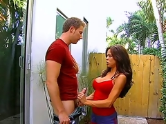 Luxurious hottie Hunter Bryce catches her neighbor peeping at her and seduces the guy to have good sex. Watch her exposing melons and giving good blowjob in a garden of her house.