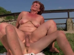 Naked older fattie Manyika has unthinkable sex with young dude in the outdoors. She licks dudes asshole and then he sticks his 10-Pounder in her many times used fuck hole. Watch her get hardcored in the sun