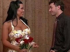 brunette puling hardcore milf moden husmor kjole store pupper lingerie scene