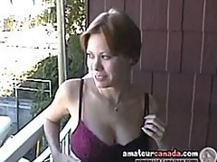 Busty milf Canadian Cassie flashing girlfriend out of the closet