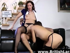 Wild threesome for mature British lady in high heels