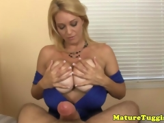 Mature milf jerking cock for cumshot