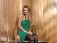 Mature Blonde In Minidress Bends Over