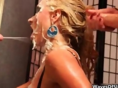 Cum loving tow-haired gets covered