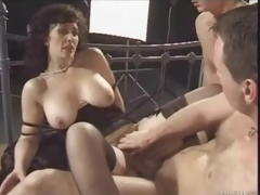 Retro threesome with nasty brunette milf